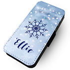 Personalised Blue Snowflake - Faux Leather Flip Phone Case #1 Fashion Gift