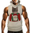 Men's Cat Christmas Ugly Sweater Gray Sleeveless Vest Hoodie Holiday Xmas B1530