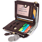 RFID Mens Short Wallet With Large Zip Coin Card Pocket Pouch Luxury