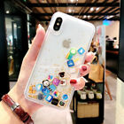 Cute Apps Icon Emoji Liquid Glitter Quicksand Case Cover For iPhone X XR XS Max <br/> Apps Icon Emoji Dynamic Liquid Case, USA Fast Shipping