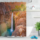 "72"" Waterproof Waterfall Scene Shower Curtain Fabric Set Liner Bathroom 12 Hooks"