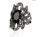 NEW Beautiful Antique Silver Marcasite Style Crystal Flower Ring, UK Seller