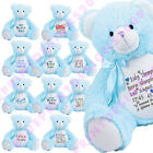 Large Blue Baby Bear Personalised Soft Teddy Bear Embroidered & Pyjama Case