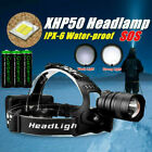 950000LM XHP50 LED Headlamp USB Rechargeable 18650 Headlight Flashlight Zoomable