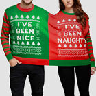 Christmas Couples Momola Naughty And Nice Double  Jumper Sweatshirt Blouse Xmas