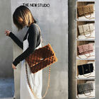 Women's Quilted Faux Fur Single Shoulder Bag Crossbody Chain Purse Envelope Bag