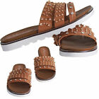 Womens Studded Flats Tan Slider Ladies Strappy Slip On Sandals Girls Shoes 3-8