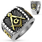 2-Tone Sq. Face Masonic Stainless Steel Casting Ring - IP Gold & Burnish Steel