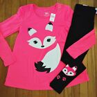 Внешний вид - NWT Justice Girls Outfit Neon Coral Fox Top/Leggings Size 6 7 8 10 12 14 16
