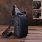 Men's Real Leather Sling Backpack Chest Pack Single Strap Shoulder Daypack Bag