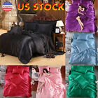King Size 4 Pcs Satin Silk Bedding Set Duvet Cover Fitted Sheet & 2 Pillow Cases image