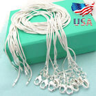 """Lots 10PCS Sterling Silver Plated 1mm Snake Chain Necklace Size 16""""-28"""" US 9 2 5 image"""