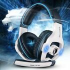 Gaming Headset Microphone Sades USB Wired Stereo Surround Sound LED Light Pc New