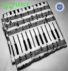 """ZooFleece 55X60"""" Music Notes Piano Song Melody White Blanket Linen Throw Bedding image"""