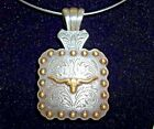 Necklace Western Cowgirl Choker Chunky pendant Concho square ng  STEER HEAD