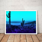LA California Cactus Desert Blue Decor Art Poster Print - A3 A2 A1 A0 Framed