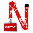 Visitor Lanyard Keychain - Pre-Printed Red Neck Strap for ID Keys Badge Fob