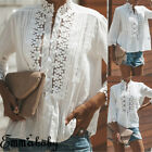 Womens Ladies Long Sleeve Blouse T Shirt Summer Loose Casual Linen Cotton Tops