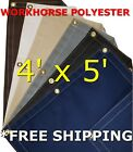 4' x 5' Workhorse Polyester Waterproof Breathable Canvas Tarp
