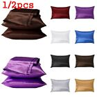 Pure Silk Pillow Cases Cushion Covers Pillowcases Standard Queen Solid Colors ~ image