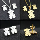 Lovely Trendy Bear Stainless Steel Earring Necklace Set Jewelry Gift Gold/Silver