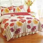Colored Poppies Quilt  Reversible Cotton and Polyester  Vermicelli Stitching New image