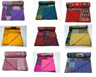 Indian Patchwork Reversible Kantha Quilt Bedding Blanket Handmade King Coverlet image