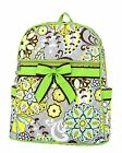 Belvah lime green or brown quilted floral paisley backpack book bag B980
