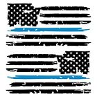 Set of 2 Black Thin Light Blue Line Distressed American Flag Decal Stickers