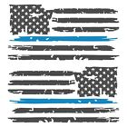 Set of 2 Dark Grey Thin Light Blue Line Distressed American Flag Decal Stickers
