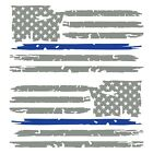 Set of 2 Middle Grey Thin Blue Line Distressed American Flag Decal Stickers