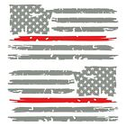Set of 2 Middle Grey Thin Red Line Distressed USA American Flag Decal Stickers