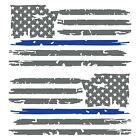 Set of 2 Silver Grey Thin Blue Line Distressed USA American Flag Decal Stickers