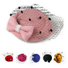 Women's Fascinators Hat Pillbox Hat Cocktail Party Hat with Dot Veil Bowkno Y3J3