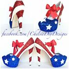 American Flag Glitter High Heels, Patriotic Stars & Stripes