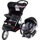 Baby Stroller and Car Seat Combo Jogging Boy Girl 3 Wheel Jogger Pink Red Gray
