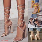 49621acc87d Women Party Summer Sandals Ladies High Block Heels Lace Up Peep Toe Shoes US