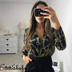 UK Women Ladies Sexy Floral Tuxedo Wrap Over Satin Bodysuit Leotard Top Jumpsuit