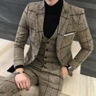 Mens Casual Business British Groom Suit 3 PCS Coat Pant Vest One Button Suit Top