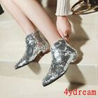 Womens Pointy Toe Chunky Low Heel Ankle Boots Shoes Sequins Nightclub Shoes Chic