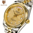Holuns Mens Watches Stainless Steel Classic Gold Male Quartz Wrist Watch image