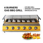 LPG Gas BBQ Barbecue Grill 6 Burners Yellow 790*250mm Baking Wire Mesh Smokeless for sale  China
