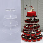 HOT Clear Acrylic Round Cake Cupcake Stand Wedding Birthday Tower Cake Decor#