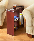 Slim End Tables Wooden Narrow w Drink Holders & Shelves Shelf Furniture 2 Colors