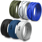 RINFIT Silicone Wedding Ring | Band for Men - 6 Rings in Pack with Gift Box