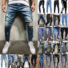 Men Skinny Biker Ripped Jeans Destroyed Frayed Slim Denim Pants Stretch Trousers