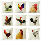Vintage Linen Chicken Rooster Pattern Pillow Case Sofa Waist Throw Cushion Cover