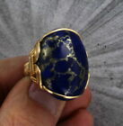 LARGE LAPIS LAZULI GEMSTONE RING WITH IRON PYRITE IN 14KT ROLLED GOLD