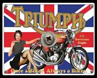 TRIUMPH HURRICANE TRIPLE BRITISH MOTORCYCLE MOTORBIKE METAL SIGN TIN PLAQUE 169 $9.02 USD on eBay
