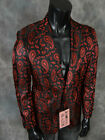 Mens INSOMNIA MANZINI Entertainer Event Sport Jacket Blazer Black Red Paisley